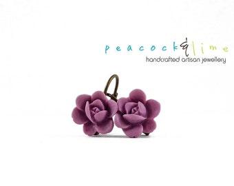 Light Orchid Purple Mini Flower drop earrings // vintage-inspired brass drop earrings // Wedding bridesmaid flowergirl // ready to ship