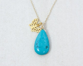 Gold Natural Turquoise & Butterfly Charm Necklace - Boho Necklace - 14K GF