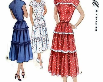 Vintage 1950 Square Neckline Tiered Dress Cap Sleeves McCall 7996 Bust 32 UNCUT