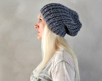 slouchy hat pale blue slouchy hat blue knit hat blue baggy beanie hand knit slouchy beanie loose beanie hat mens tam hat alpaca hat