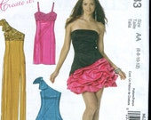 McCalls M6283 UNCUT Sexy One-Shoulder, Strappy or Strapless Evening Gown or Dress Pattern - Size 6-12
