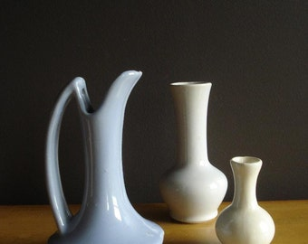 Unmatched Trio - White and Periwinkle Vases - Set of Three