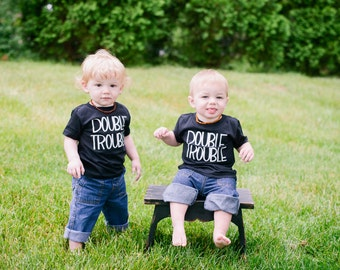 Twins Double Trouble Tee Shirt for Boy or Girl Unisex