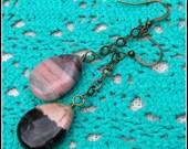 Rhodonite Earrings, Pink ...