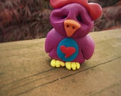 Whooey Bird - a Whimsical Polymer Clay Art Doll or Cake Topper / Cupcake Topper