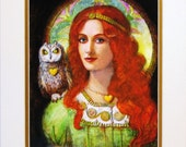 Goddess Athena Owl Art portrait Greek mythology matted print of painting
