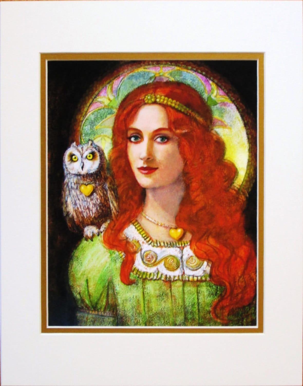 goddess athena owl art portrait greek mythology matted print