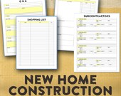 New Home Building Organizer / New Home Construction Organizing Forms / Printable /  Basic Forms