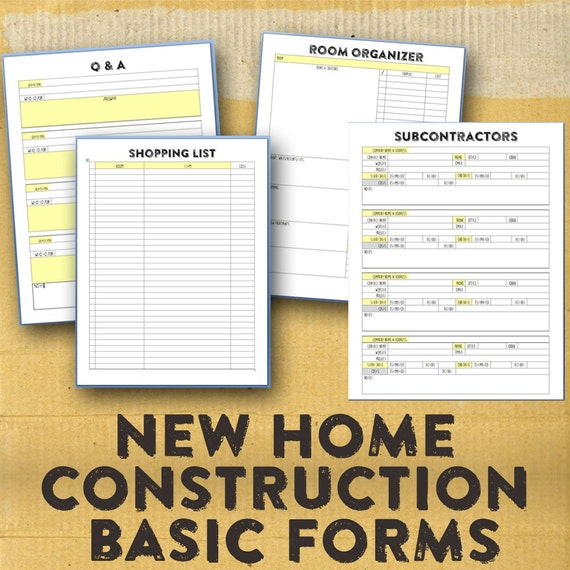 New home building organizer new home construction organizing for Order of subcontractors when building a house