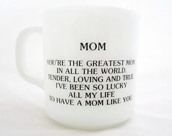 MOM Milk Glass Coffee Mug with Sentiment Anchor Hocking Logo Made in USA Oven Proof