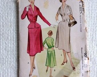 "McCall. Woman's Size 42.  Dress Pattern 9088 Uncut.  Vintage 1950 sewing pattern.    Bust size 42"".  No. 9088."