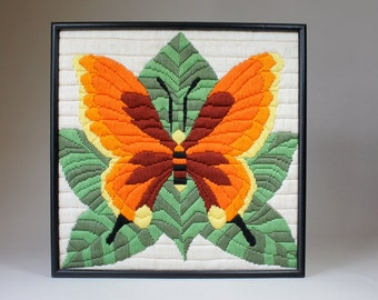 Vintage Butterfly Wall Decor, Butterfly Needlework Picture, Pop Art Butterfly, Crewel Stitch, Orange and Green Psychedelic 70s Butterfly,