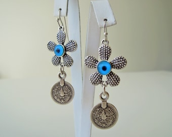 Evil eye earrings - evil eye charm - dainty Turkish jewelry Coin Earring - FREE SHIPPING - Chandelier - gift for bride - mom gift - sister