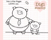 Pig Stamp - Digital Pig Stamp - Father's Day Stamp - Digital Father's Day Stamp - Pig Art - Pig Card Supply - Father's Day Craft Supply