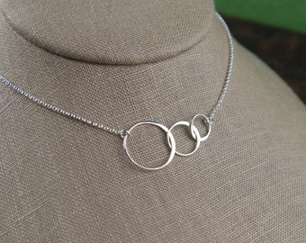 Linked circles infinity necklace in sterling silver, entwined rings, sterling silver ring, interlocking circles, three circles, mother's day