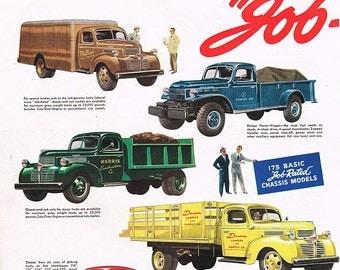 vintage mid century classic american trucks illustration digital download