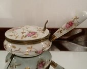 Arnart Hand Painted Porcelain Silent Butler with Hinged Lid, White Porcelain with Pink, Gold, Green, #7487