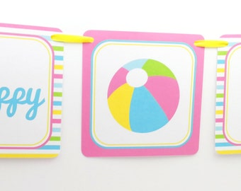 Pool Party Banner, Beach Ball Party Banner, Beach Ball Banner, Pool Party Decoration