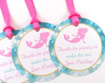 Mermaid Party Favor Tags, Mermaid Birthday Favor Tags, Mermaid Favor Tags, Mermaid Tags, Mermaid Party Decorations - SET OF 12