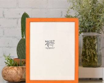 "11x14"" Picture Frame in 1x1 Flat Style with Vintage Orange Finish - Can Be Any Color - Rustic Orange Frame - Handmade 11 x 14 Frame"