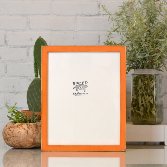 """11x14"""" Picture Frame in 1x1 Flat Style with Vintage Orange Finish - Can Be Any Color - Rustic Orange Frame - Handmade 11 x 14 Frame"""