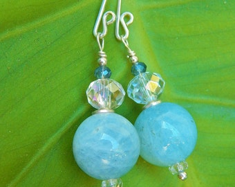 All About that Aquamarine - Gorgeous Natural Aquamarine Beads w Antique Glass Disks, Crystals & Handmade Sterling Silver Ear Wires