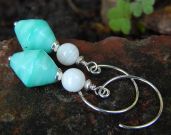 Aqua Drop Earrings - Lovely Turquoise Czech Glass Beads w Mother-of-Pearl & Handmade Sterling Silver Hoops / Proceeds Help Kids w Autism