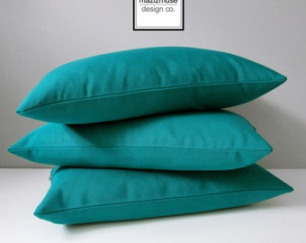 Teal Outdoor Pillow Cover, Blue Green, Decorative Throw Pillow Case, Sea Green, Modern Teal Sunbrella Pillow Cushion Cover, Mazizmuse