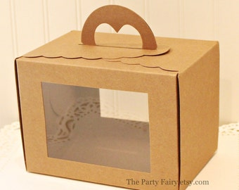 Kraft Box, 5 Favor Boxes with Windows & Handle, Cupcake Box, Box with Window,  Party Food Box, Cake Box, Wedding Favor Box, Food Packaging