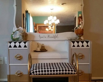 "Vintage WaterFall Vanity ""Cloud 9"", matching vanity bench and white rug. *This Item is SOLD*"