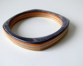 Black, Orange and Yellow Wooden Square Bangle Recycled Skateboard Bracelet