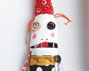 Clown Art Doll - Clown Softie - Creature Doll - Circus Doll - Strange Clown Doll - Clown Rag Doll - Odd Strange Doll - Fantasy Creature Doll