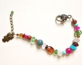 Colorful Beaded Bracelet with Bronze Owl Charm, Pink, Turquoise, Green, and Brown Beads