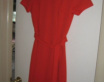 60's/70's Vintage Orange Knit Dress Day Dress