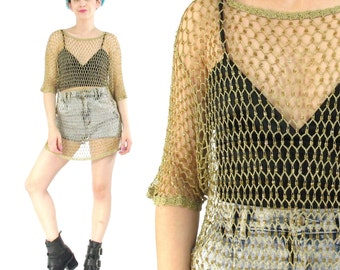 Vintage Mesh Crochet Top Chain Mail Gold Beaded Shirt Sheer Knit Sequin Top Sparkly Tunic Cut Out Layering Top Disco Glam Tshirt (M/L/XL)