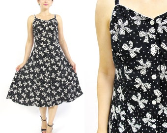 80s 90s Bow Print Dress Black and White Polka Dot Dress Cotton Sun Dress Retro Vintage Dress Sleeveless Button Down Front Dress (M)