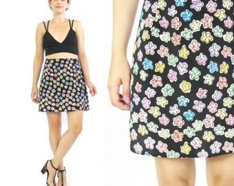 50% OFF SALE 90s Floral Mini Skirt High Waist Skirt  Floral Print Skirt 90s Grunge Skirt Black Floral Skirt Colorful Daisy Mini Skirt (L)