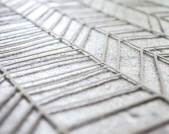 Ketubah Papercut by Jennifer Raichman - Chevron Lines - Metallic Silver
