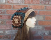 Womens Boho Hat Slouchy Beanie Slouch Hat Brown Blue Rust Orange Gifts for Teenagers Warm Colors Autumn Fashion Autumn Hat