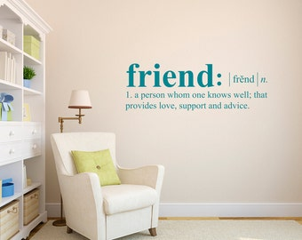 Friend Definition Wall Decal - Dictionary definition Decal - Friend Wall Decal - Large