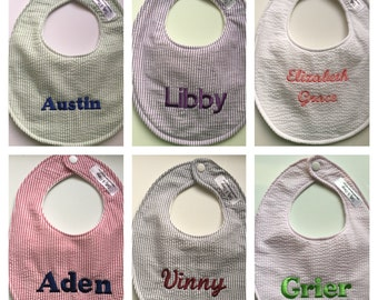 Personalized Seersucker Baby Bib