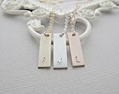 Silver Bar Necklace, Bar Necklace, Stamped Necklace, Monogram Necklace, Nameplate Necklace, Engraved Necklace, Sterling Silver Jewelry