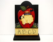 Sheep and Apple, Handpainted Large Wood Tag, Shelf Sitter