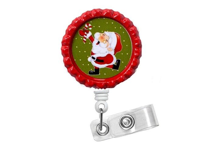 Dancing Santa - Nursing Badge Holder - Christmas Nurse Badge Reel  - Teacher Name Badge - Nurses Badge - Cute Badge Reel - NICU Badge - RN