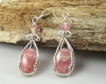 WSE-0125, Rhodochrosite, Pink, Gemstone, Dangle Earring, Wire Wrapped, in Sterling Silver Wire