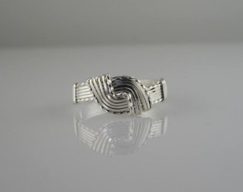 RI-0118 Sterling Silver Hug Ring, Handmade Ring, Wire Wrapped in .925 Argentium Sterling Silver Wire