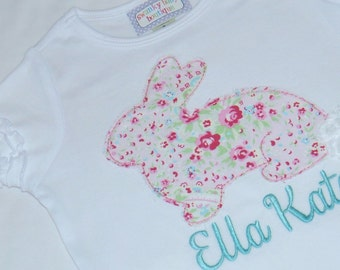 Girls White Applique Baby Gown, Onesie, Shirt... Bunny... Pink, Aqua, Mint, Green... Vintage, Shabby Chic Personalized Name... Custom Made