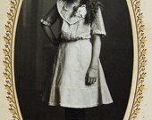 FUTURE DIVA Antique Cabinet Card - Young Lady with Long Locks and Long Socks - Siegel Cooper, New York