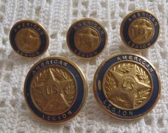 Vintage Buttons American Legion Blue Enamel 5 Pieces