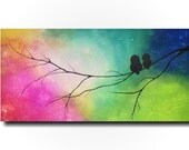 Original Large Abstract painting - 24 X 48 Inches-by Artist JMJartstudio- Beauty Between Us -Wall art- Silhouette painting-Oil painting-Bird